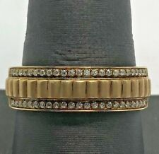 Men's Sterling Silver 925 Gold Tone Vermeil Matte Grooved CZ Pave Band Ring 10