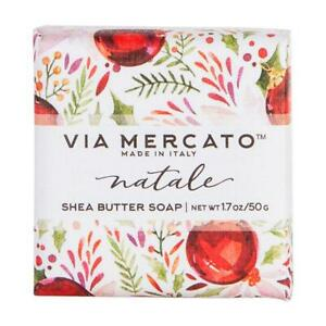 Via Mercato Italy Natale Snow Flower French Milled Shea Butter Bar Soap Gift 50g