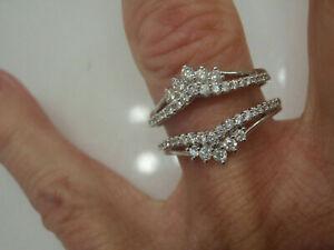 0.50ct Round Cut Diamond Wedding Enhancer Wrap Guard Ring 14k White Gold Finish