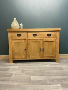 Oak Large Sideboard - Modern 3 Door Wide Cupboard - Rustic Solid Wood Cabinet