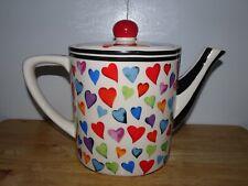 JAMESON & TAILOR HEARTS~STRIPES CERAMIC COFFEE~TEAPOT