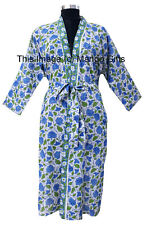 4e796fbb47 Women Fashion Block Print Sleepwear Bathrobe Kimono Robe Cotton Night Dress  Gown