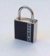 Cute Swarovski Black Crystals Square Silver Tone Lock Bag Key Ring Charm