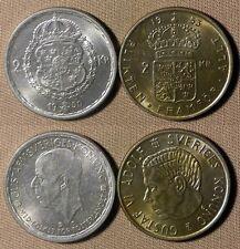 Sweden : Lot 2 Coins  2 Kr 1950TC CH.AU-UNC + 2 Kr 1953  BU  #815#827   IR2097