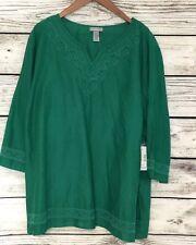 Catherines Green Beaded Tunic Top Shirt Sz 4X 100% Cotton