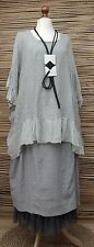 LAGENLOOK LINEN AMAZING OVERSIZED BOHO GYPSY TOP/TUNIC**GREY**SIZE XXL-XXXL