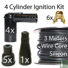 4 Cyl HT Ignition Lead Kit - 3x Mtrs Cable -  4x Plug Caps - Terminals & Covers