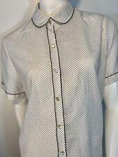 Vintage Polka Dot Button Up Ladies Short Sleeve Blouse Shirt Top *VOLUP* Sz XL