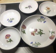 large pasta or salad server with 4 bowls floral ceramic Set Vntg Beautiful!