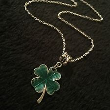 Four Leaf Clover Shamrock Necklace Pendant Gift Flower Lucky Charm Irish Ireland