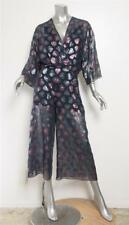 SCHIAPARELLI Womens Dark Blue Metallic Pink Hearts Chiffon Jumpsuit 0-36 NEW