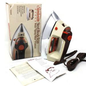 🔴 VTG Sunbeam Vista Steel Body Iron W/ Spray Mist Feature Model 90266 Almond