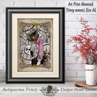 Flamingo Steampunk Quirky Vintage Dictionary Page Wall Art Print Picture Pink