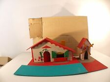 Maison et moulin en bois isorel 30 x 12 cm ancien en boite