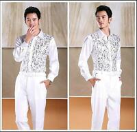 Top Latin Dance Costume Shirt Salsa new Men Stage Sequins Ballroom Dancing Shirt