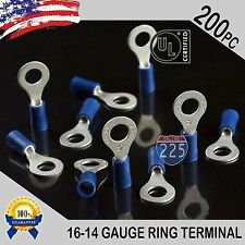 """200 PACK 16-14 Gauge 1/4"""" Stud Insulated Vinyl Ring Terminals Tin Copper Core US"""