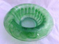 """DAVIDSON Green Art Deco 9"""" CLOUD GLASS BOWL Pattern No:  1910BD"""
