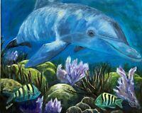 LG Original OIL Impressionism DOLPHIN underwater reef ocean J Belote