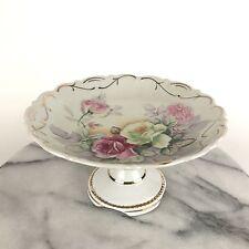 Vintage Porcelain Pedestal Cake Dessert Stand Dish Arnart Creation Japan Roses