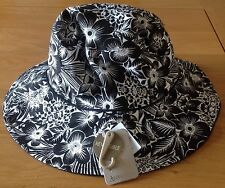 BNWT Accessorize Women's Reversible Sun Hat - Black/ White Floral