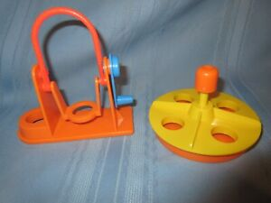 vintage Fisher Price Little People jump rope swing set and merry go round orange