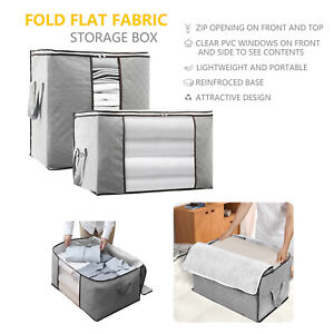 2pcs Large Foldable Storage Boxes Collapsible Home Clothes Organizer Fabric Cube