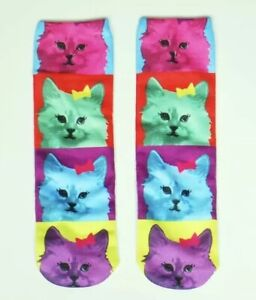 Rainbow Novelty Cat Socks Fun Gag Gift