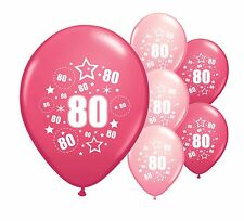 """10 x 80TH BIRTHDAY PINK MIX 12"""" HELIUM OR AIRFILL BALLOONS (PA)"""