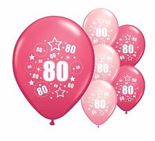 """20 x 80TH BIRTHDAY PINK MIX 12"""" HELIUM OR AIRFILL BALLOONS (PA)"""