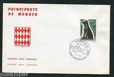 MONACO FDC premier jour, CHIEN, FEDERATION CYNOLOGIQUE, timbre 722,  5.4.1967