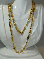 """Chunky Faceted Wired Bead Gold tone 38"""" Long Chain Necklace 11o 6"""