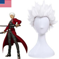 Fate/stay night Servant Archer Cosplay Wig Short White Straight Hair Wig