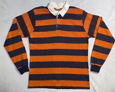 VTG 80s Campus Rugby Shirt Long Sleeve Size Large Orange/Blue Stripe