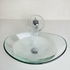 Modern Oval Bathroom Clear Glass Vessel Sink Basin Bowl&Chrome Mixer Taps Faucet