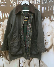 "Men's Vintage Barbour Northumbria Jacket Green Wax Cotton Hunting 2XL 46"" 117CM"