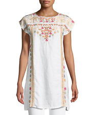 NWT Johnny Was AliyaFloral Embroidered Linen Tunic Shift Dress Sz M $250 white