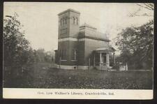 Postcard Crawfordsville Indiana/In General Lew Wallace Library Bldg view 1907