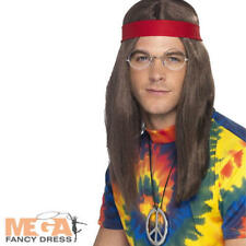 70s Hippy Man Wig + Glasses Kit Fancy Dress Mens 1960s Hippie Costume 60s Set