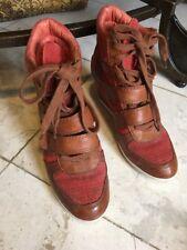 ASH BEA Peach Platine Suede Leather Designer Fashione High Top Sneakers 38