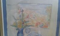 Aquarell Stillleben Gemälde (Peter Cezanne) im Holzrahmen aus Rhein Main Region!