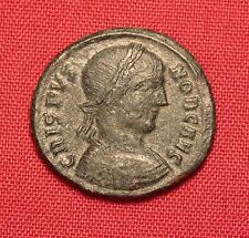 Ancient Roman Crispus Bronze AE3 Coin, Camp Gate