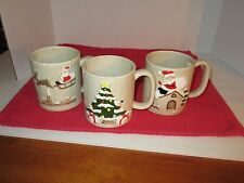 Christmas Mugs with Santa Claus or Christmas Tree, Made in 1981 by Otagiri.