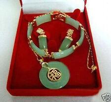 New natural Jewelry 14K GP Jade pendant Errings Bracelet set