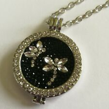 Moneda New 35mm crystal locket silver necklace black crystal dragonfly coin MO1