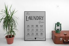 Laundry Room Wall Décor Sign Poster Print Grey and Black Rustic A4 Free Postage