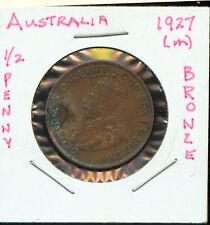 WORLD COINS AUSTRALIA 1927 1/2  PENNY EF (G486)