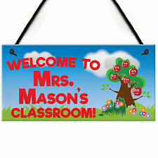 Welcome Classroom Hanging Personalised Teachers Plaque Colleague Teaching Gift