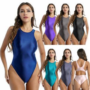 Damen Einteiler String Body Bademode Glänzende Hoher Beinschnitt Schwimmanzug