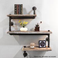 Rustic Industrial DIY Floating Pipe Shelf - Dark Grey