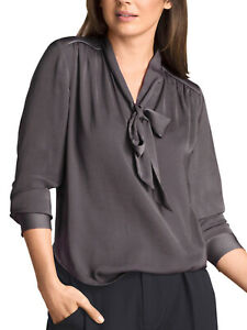 ALESSAW LADIES SLATE GREY PUSSY BOW LONG SLEEVE BLOUSE NEW (ref 485)